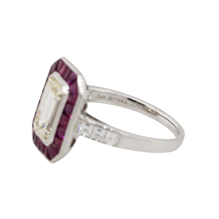 2.03 Carat Emerald Cut Diamond Center Ring with Rubies Platinum in Stock For Sale 1