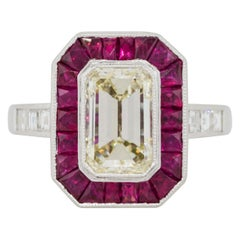 2.03 Carat Emerald Cut Diamond Center Ring with Rubies Platinum in Stock