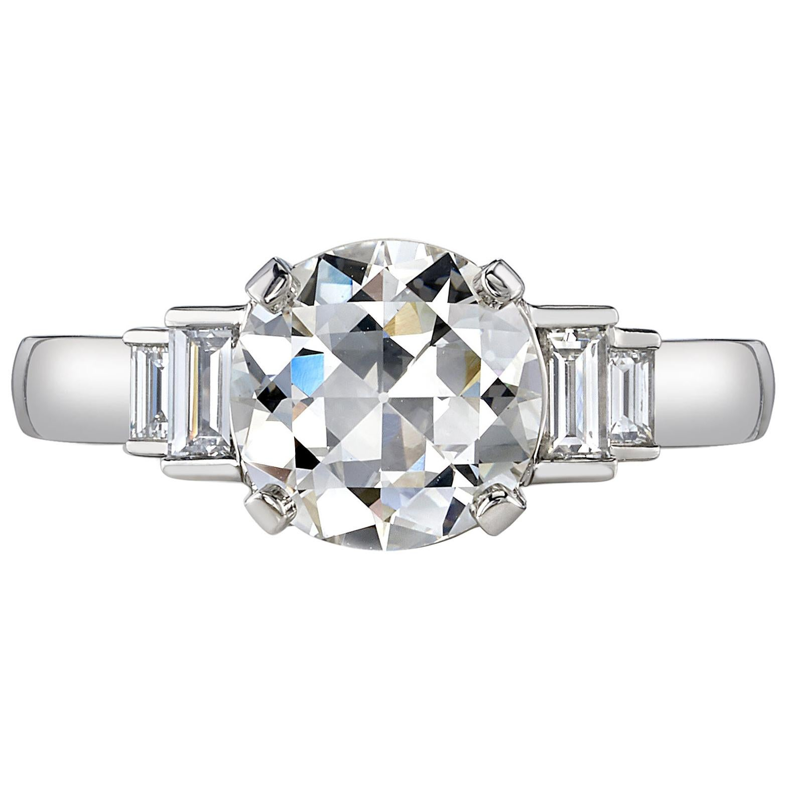 2.03 Carat Old European Cut Diamond Set in a Handcrafted Platinum Ring