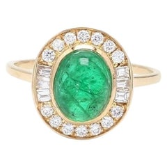 2.03 Carat Oval Cabochon Emerald Diamond 18 Karat Yellow Gold Fashion Ring
