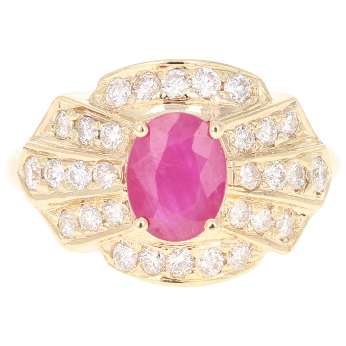 2.03 Carat Oval Cut Burmese Ruby Diamond 14 Karat Yellow Gold Ring