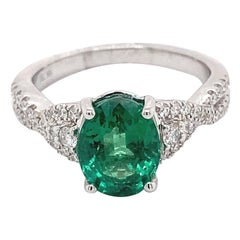 2.03 Carat Oval Emerald with Diamonds Ring 18 Karat White Gold