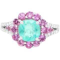 2.03 Carat Paraiba Tourmaline, Pink Sapphire and Diamond Engagement Ring