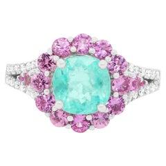 2.03 Carat Paraiba Tourmaline, Pink Sapphire, and Diamond Ring