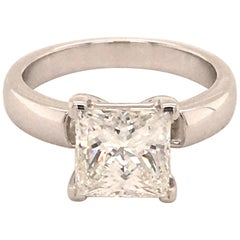 2.03 Carat Princess Cut Diamond Ring in 18 Karat White Gold by Bucherer