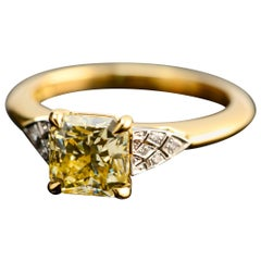 2.03 Carat Radiant Cut Fancy Yellow Diamond Engagement Ring with Art Deco Detail