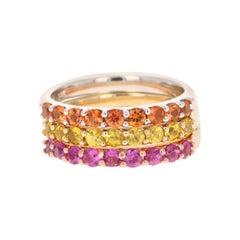 2.03 Carat Round Cut Sapphire 14 Karat Gold Stackable Bands