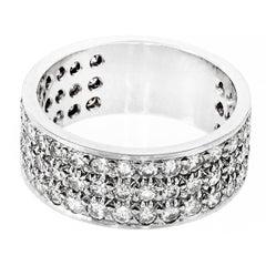 2.03 Carat Round Diamond Three-Row Pave Platinum Ring
