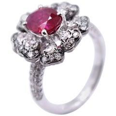 2.03 Carat Ruby and 1.08 Carat White Diamond Cocktail Ring in 18K Palladium Gold