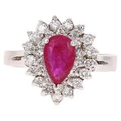 2.03 Carat Ruby Diamond 14 Karat White Gold Engagement Ring