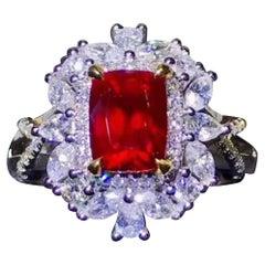 2.03 Carat Ruby Pigeon Red Blood Diamond Ring Unheated 18 Karat White Gold