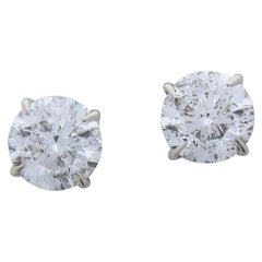 2.03 Carat Total Diamond Stud Earrings in 14 Karat White Gold
