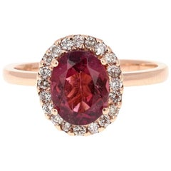 2.03 Carat Tourmaline Diamond 14 Karat Rose Gold Cocktail Ring