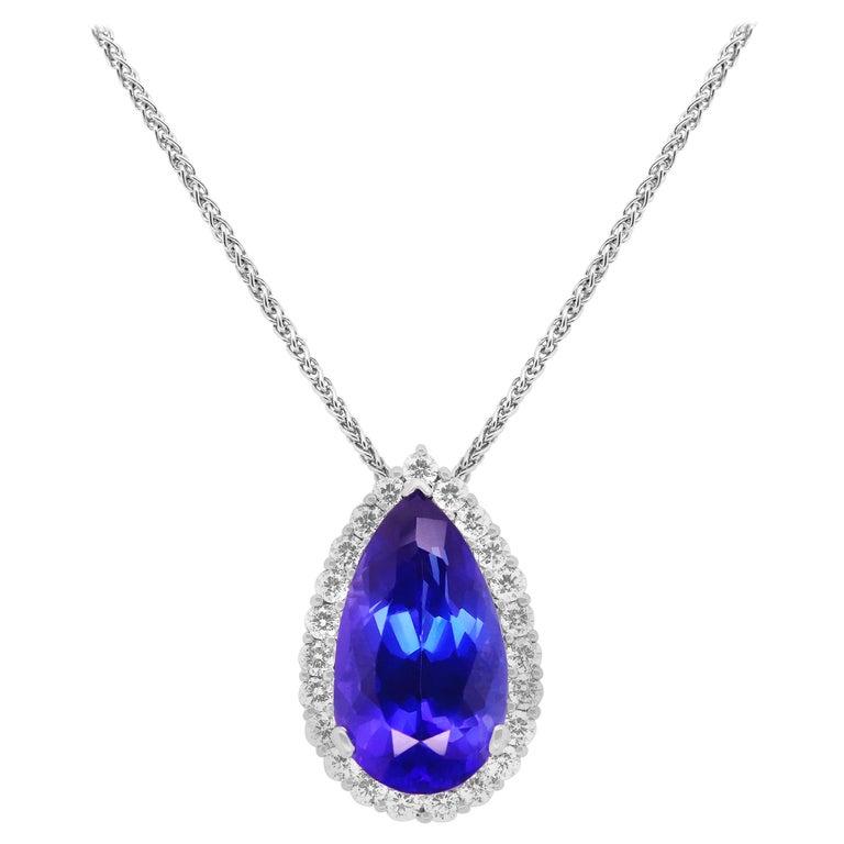 20.34 Ct Pear Shape Tanzanite Diamond Halo Necklace Pendant Fancy Chain 18K Gold For Sale