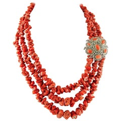 203.4 g Red Coral, Diamonds Emeralds, Gold and Silver Multi-Strands Necklace