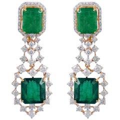 20.35 Carat Emerald Diamond 18 Karat Gold Earrings