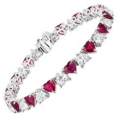 20.35 Carat Heart Shaped Ruby and Diamond Bracelet