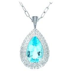 20.36 Ct. GIA Paraiba Tourmaline & Diamond 18k White Gold Drop Pendant Necklace