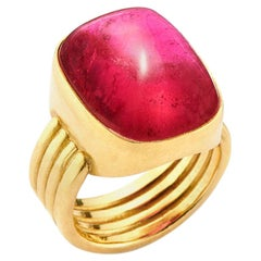 20.38 Carat Cushion Cut Cabochon Rubellite and 18 Karat Gold 4 Band Ring