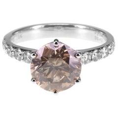 2.04 Carat Cognac Color Brown Diamond Solitaire 18K Gold Ring