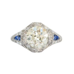 2.04 Carat Diamond and Sapphire Platinum Engagement Ring