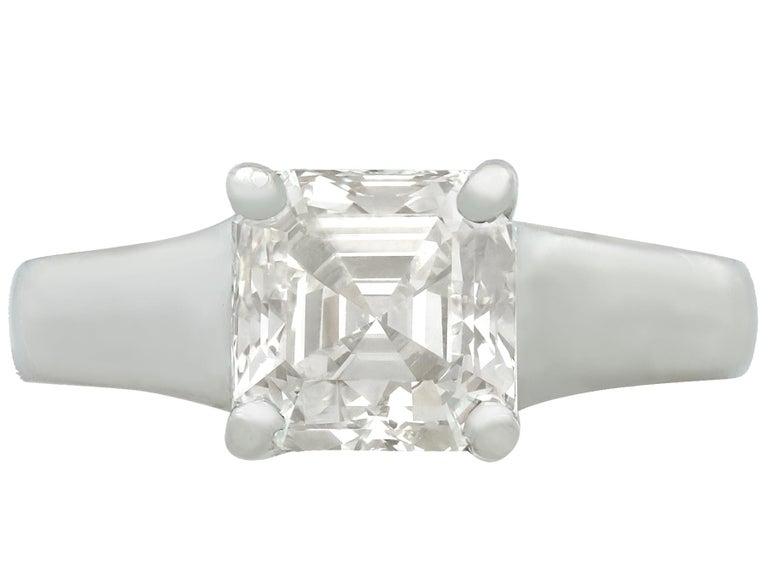 Asscher Cut 2.04 Carat Diamond Gold Platinum Solitaire Engagement Ring For Sale