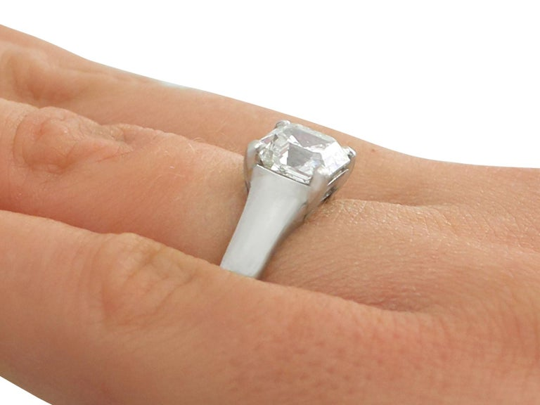 2.04 Carat Diamond Gold Platinum Solitaire Engagement Ring For Sale 2