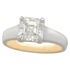 2.04 Carat Diamond Gold Platinum Solitaire Engagement Ring
