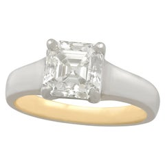 2.04 Carat Diamond Gold Platinum Solitaire Engagement Ring