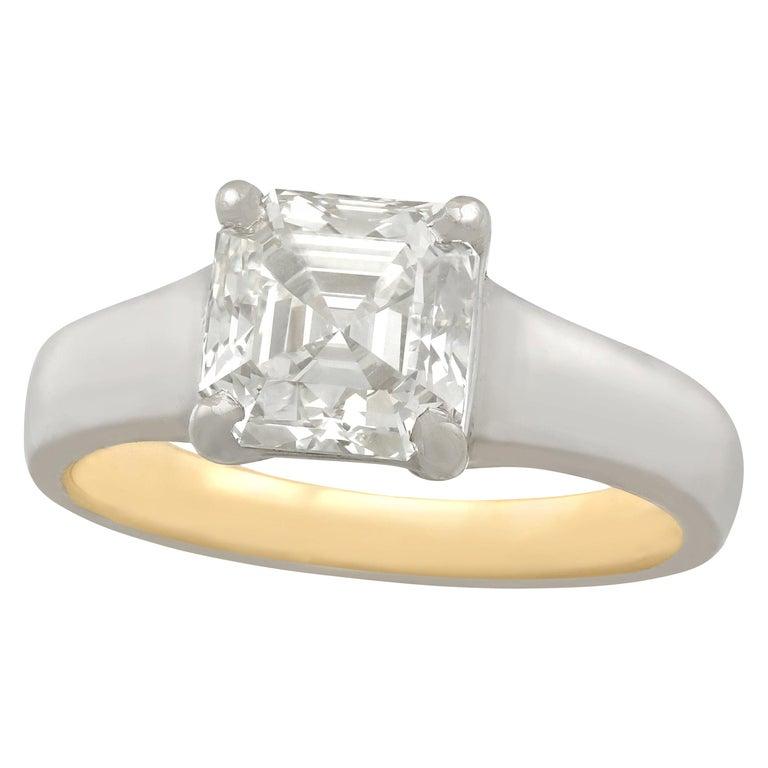 2.04 Carat Diamond Gold Platinum Solitaire Engagement Ring For Sale