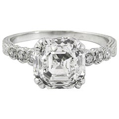2.04 Carat E VS 2 GIA Certified Asscher Cut Diamond Platinum Engagement Ring