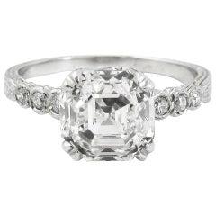2.04 Carat E VS 2 GIA Certified Asscher Cut Diamond Platinum Engagement Ring
