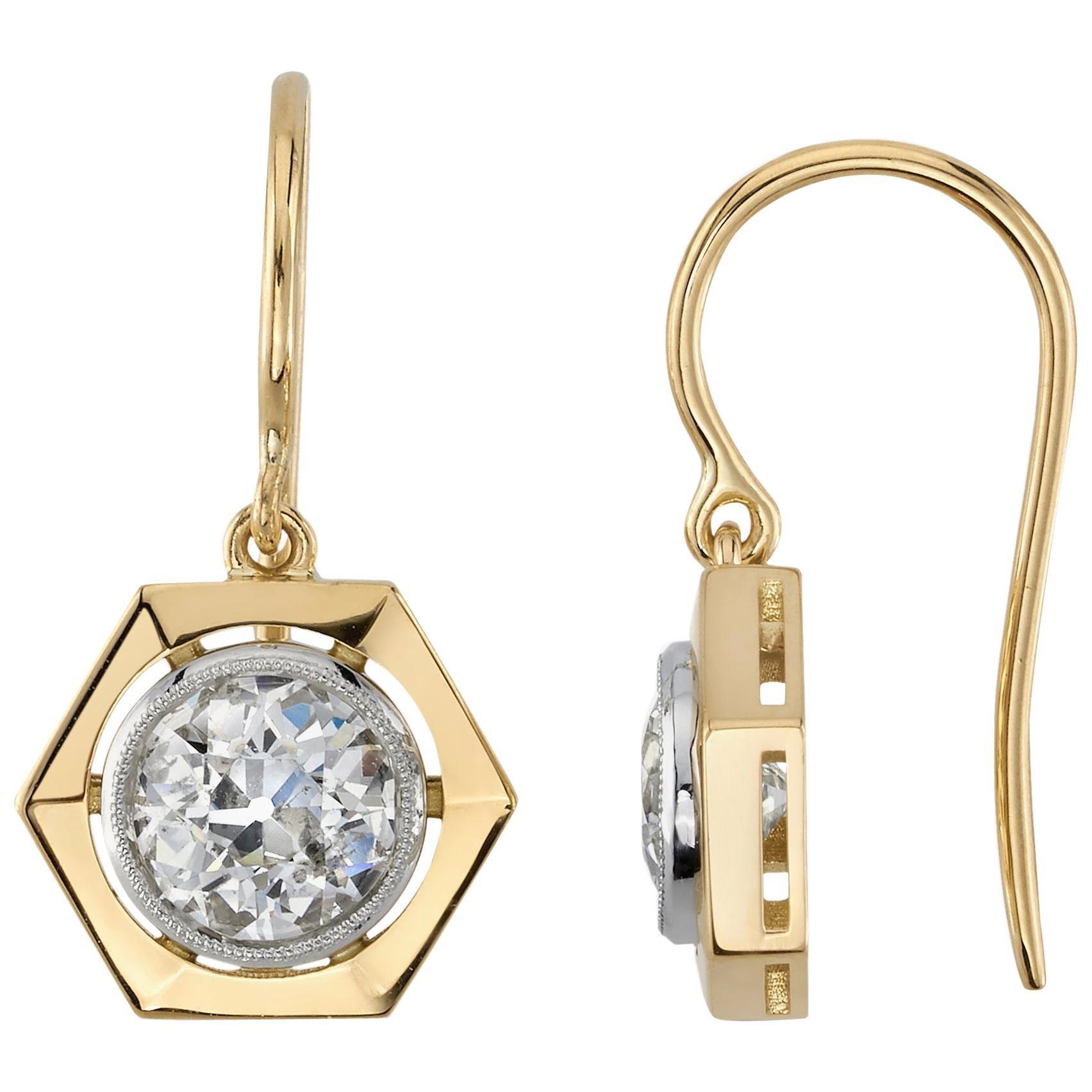 Handcrafted Tisha Old European Cut Diamond Drop Earrings by Single Stone