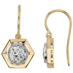 2.04 Carat GIA Certified Old European Cut Diamonds Set in 18 Karat Gold Earrings