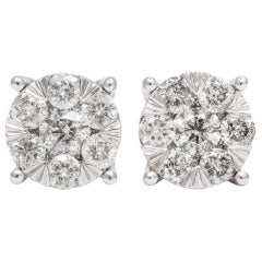 2.04 Carat of Diamonds Cluster Stud Setting Pair of Earrings