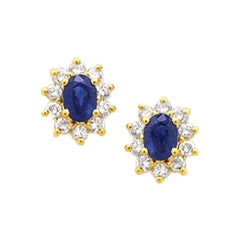2.04 Carat Oval and Round Cut Sapphire and Diamond Earrings in 14 Karat Gold