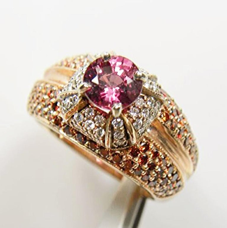 Contemporary 2.04 Carat Padparadscha Sapphire Diamond Ring Rose Gold For Sale