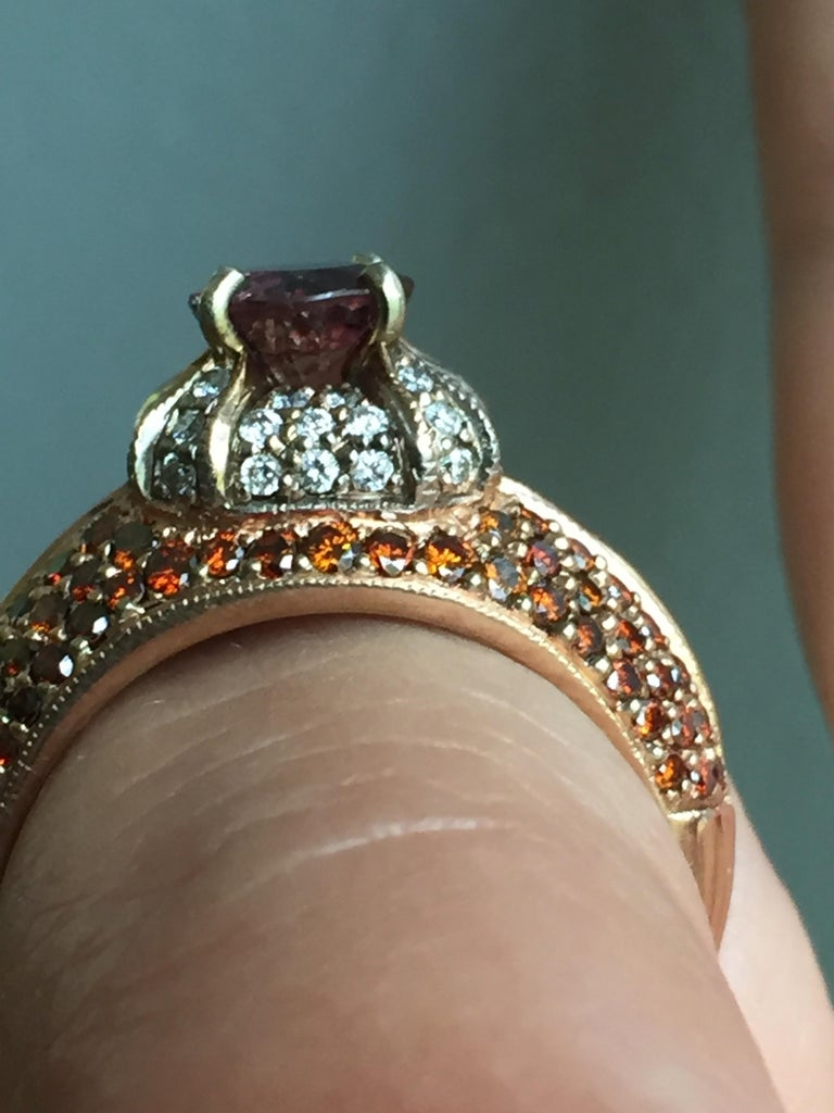 2.04 Carat Padparadscha Sapphire Diamond Ring Rose Gold In New Condition For Sale In Brunswick, ME