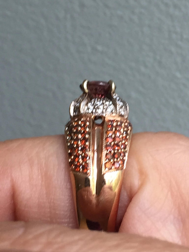 Women's 2.04 Carat Padparadscha Sapphire Diamond Ring Rose Gold For Sale