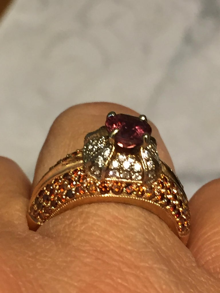 2.04 Carat Padparadscha Sapphire Diamond Ring Rose Gold For Sale 1