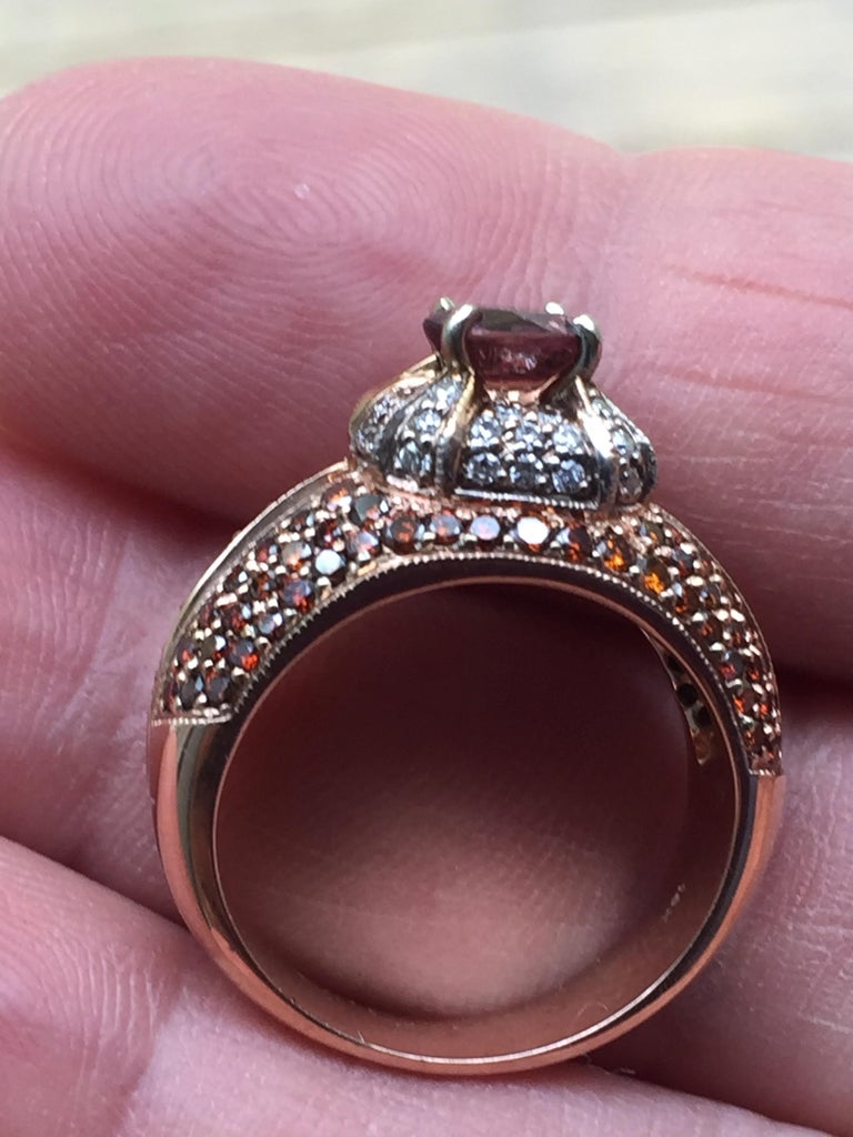 2.04 Carat Padparadscha Sapphire Diamond Ring Rose Gold For Sale 2