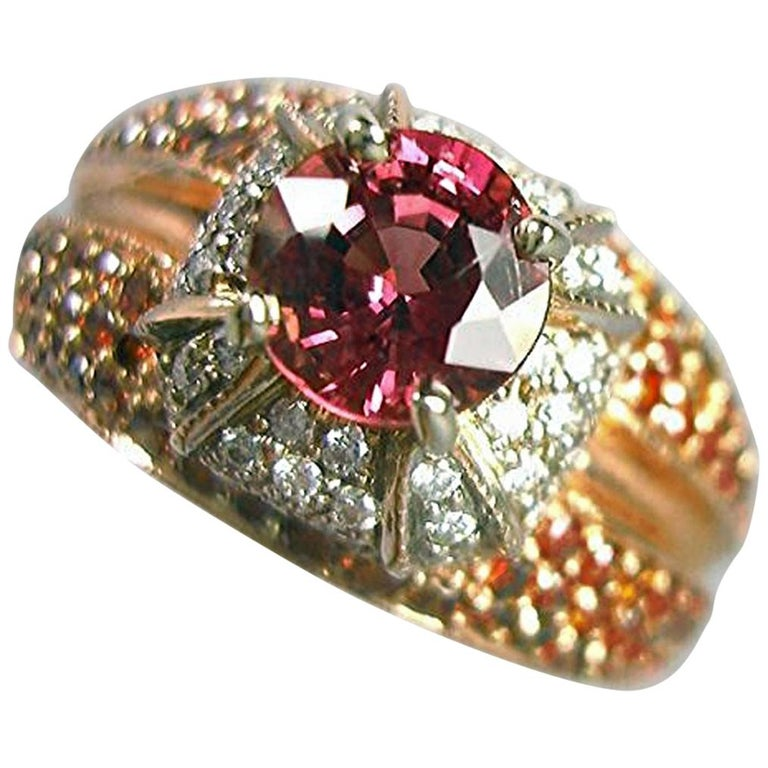 2.04 Carat Padparadscha Sapphire Diamond Ring Rose Gold For Sale
