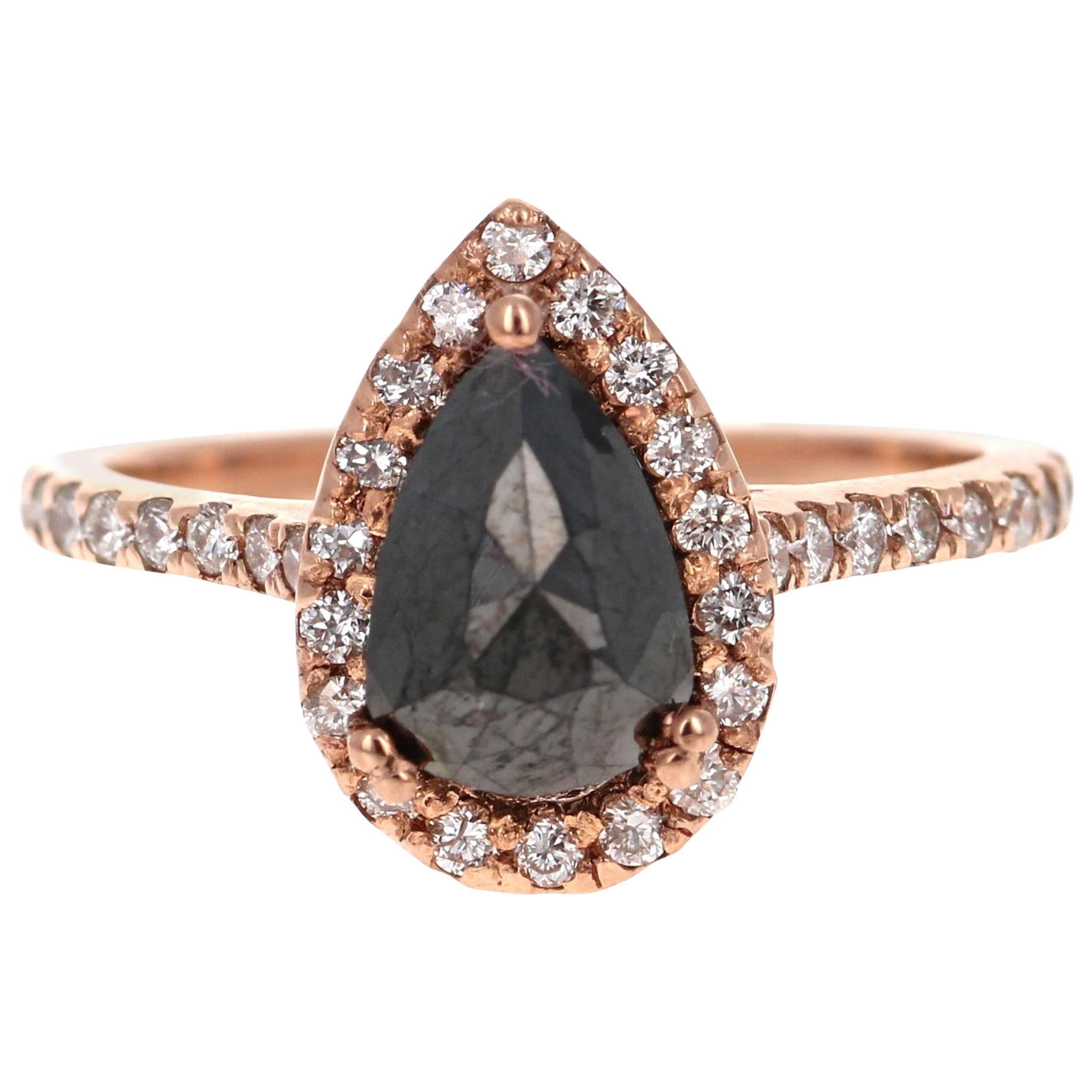 2.04 Carat Pear Cut Black Diamond 14 Karat Rose Gold Engagement Ring