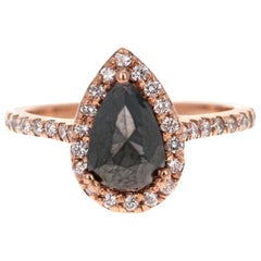 2.04 Carat Pear Cut Black Diamond 14 Karat Rose Gold Engagement Ring