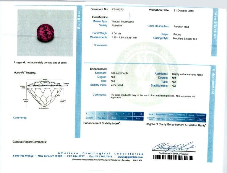 2.04 Carat Red Tourmaline Diamond Platinum Engagement Ring For Sale 2