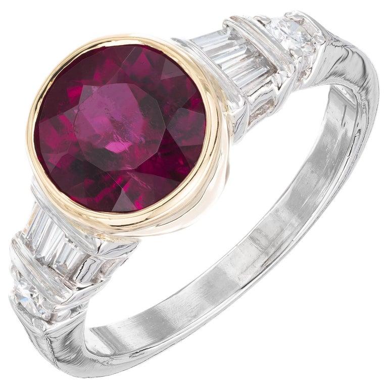 2.04 Carat Red Tourmaline Diamond Platinum Engagement Ring For Sale