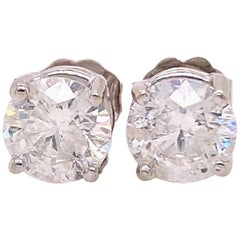 2.04 Carat Round Brilliant Diamond Stud Earrings 14 Karat White Gold