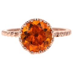 2.04 Carat Round Cut Citrine Quartz Rose Gold Ring