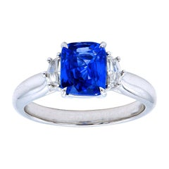 2.04 Carat Sapphire Cushion Ring with Epaulettes