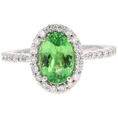 2.04 Carat Tsavorite Diamond White Gold Ring